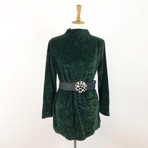 Vintage 90's Velour Christmas Green Mocneck Tunic